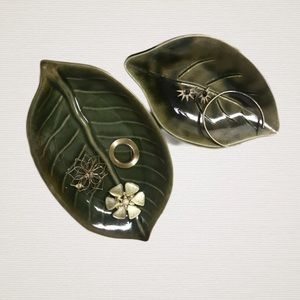 Nesting Ceramic Pot Leaf Trinket Trays